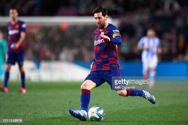 Lionel Messi of FC Barcelona plays the ball during the Liga match between FC Barcelona and Real Sociedad at Camp Nou on March 07 2020 in Barcelona...