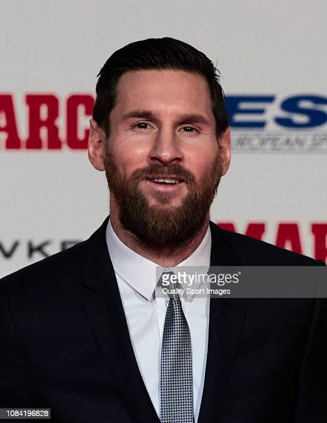 Lionel Messi of FC Barcelona poses after receiving the 201718 Season European Golden Shoe award for Europe's top scorer for the fifth time during the...