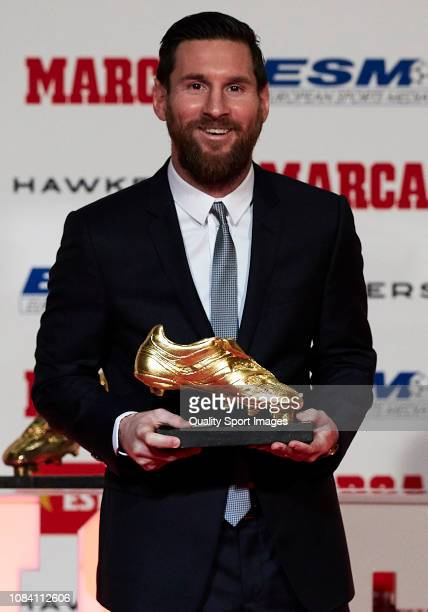 Lionel Messi of FC Barcelona poses with his 201718 Season European Golden Shoe award for Europe's top scorer for the fifth time during the Golden...