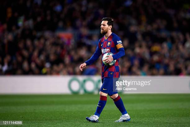 Lionel Messi of FC Barcelona prepares to kick a penalty during the Liga match between FC Barcelona and Real Sociedad at Camp Nou on March 07 2020 in...
