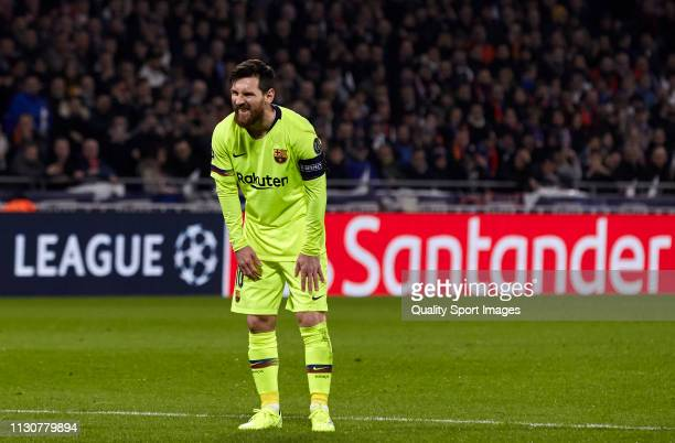 Lionel Messi of FC Barcelona reacts after a free kick during the UEFA Champions League Round of 16 First Leg match between Olympique Lyonnais and FC...