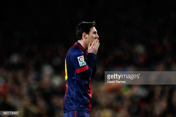 Lionel Messi of FC Barcelona reacts after missing a chance to score during the Copa del Rey Semi Final second leg between FC Barcelona and Real...