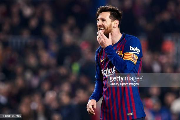 Lionel Messi of FC Barcelona reacts after missing a penalty during the La Liga match between FC Barcelona and Real Valladolid CF at Camp Nou on...