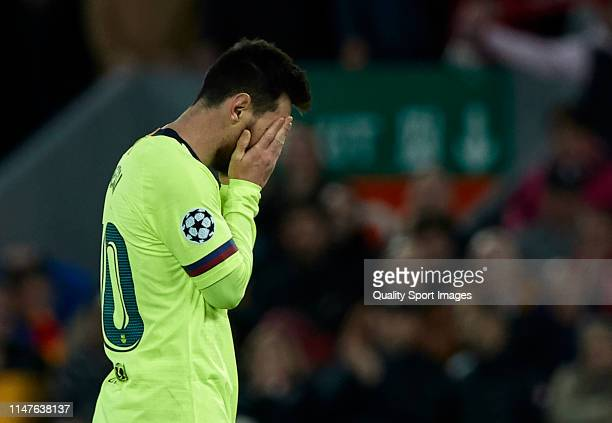 Lionel Messi of FC Barcelona reacts after the defeating at the end of the UEFA Champions League Semi Final second leg match between Liverpool and...