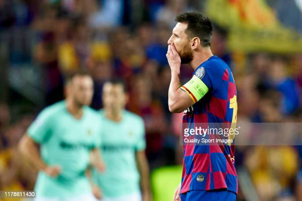 Lionel Messi of FC Barcelona reacts after their team's conceded the first goal during the UEFA Champions League group F match between FC Barcelona...