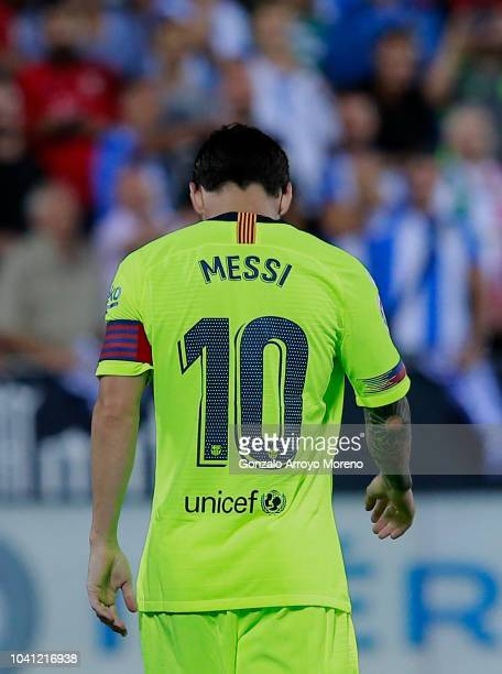 Lionel Messi of FC Barcelona reacts as he fail to score during the La Liga match between CD Leganes and FC Barcelona at Estadio Municipal de Butarque...