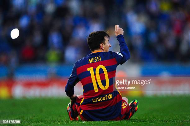 Lionel Messi of FC Barcelona reacts asking a card to the referee Jose Luis Gonzalez Gonzalez at the end of the La Liga match between RCD Espanyol and...