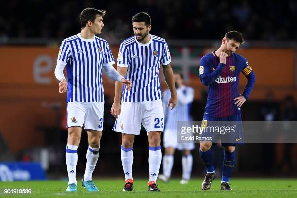 Lionel Messi of FC Barcelona reacts dejected after Juanmi Jimenez of Real Sociedad de Futbol scored the opening goal during the La Liga match between...