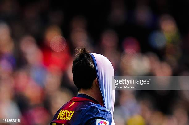 Lionel Messi of FC Barcelona reacts dejected after missing a chance to score during the La Liga match between FC Barcelona and Getafe CF at Camp Nou...