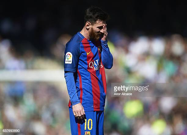 Lionel Messi of FC Barcelona reacts during La Liga match between Real Betis Balompie and FC Barcelona at Benito Villamarin Stadium on January 29 2017...