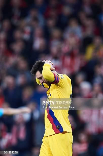 Lionel Messi of FC Barcelona reacts during the Copa del Rey quarter final match between Athletic Bilbao and FC Barcelona at Estadio de San Mames on...