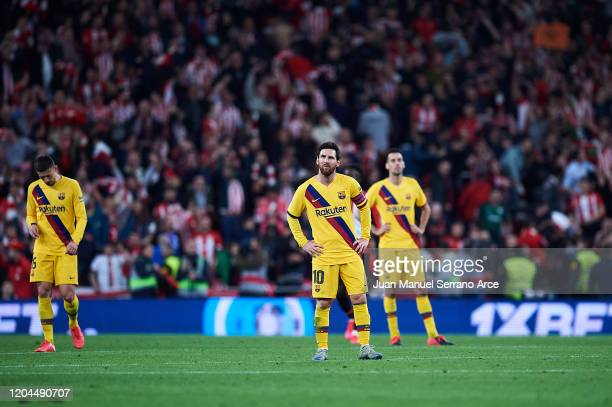 Lionel Messi of FC Barcelona reacts during the Copa del Rey quarter final match between Athletic Bilbao and FC Barcelona at Estadio de San Mames on...