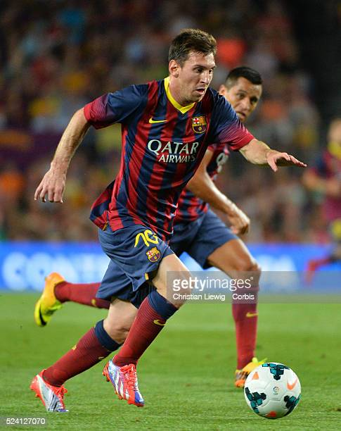 Lionel Messi of FC Barcelona reacts during the Joan Gamper Trophy friendly match between FC Barcelona and Santos FC at the Camp Nou stadium in...