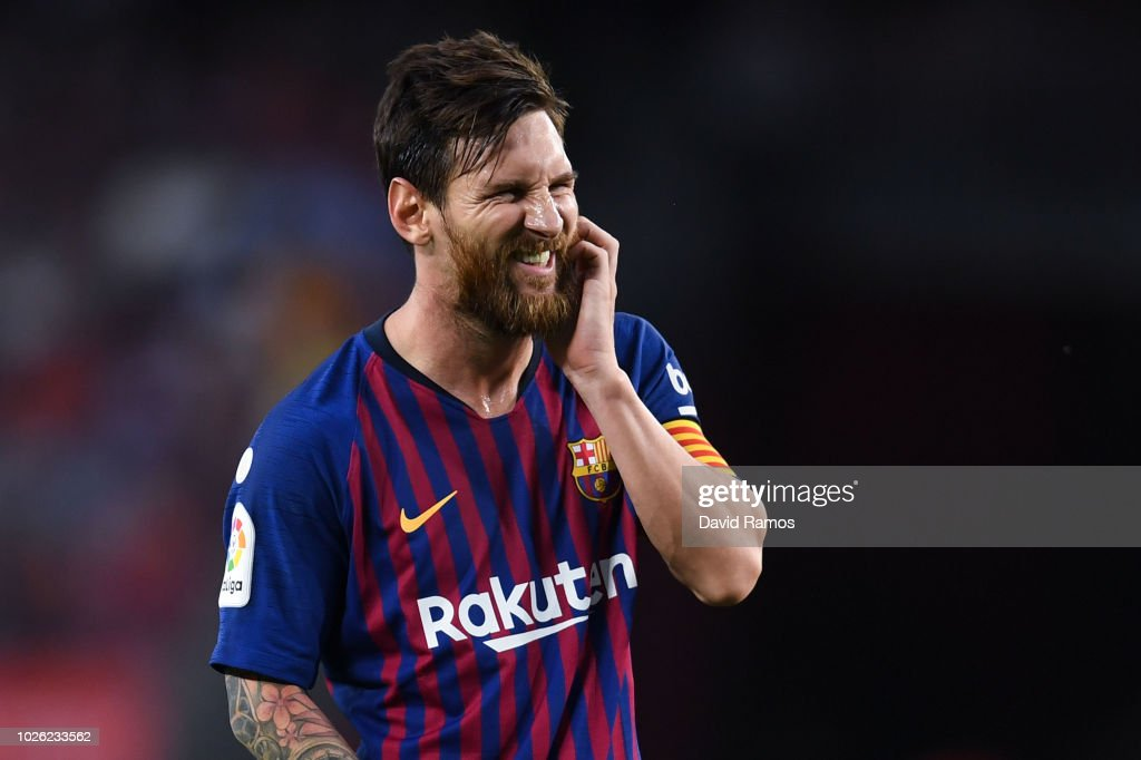 Lionel Messi of FC Barcelona reacts during the La Liga match between FC Barcelona and SD Huesca at Camp Nou on September 2, 2018 in Barcelona, Spain.