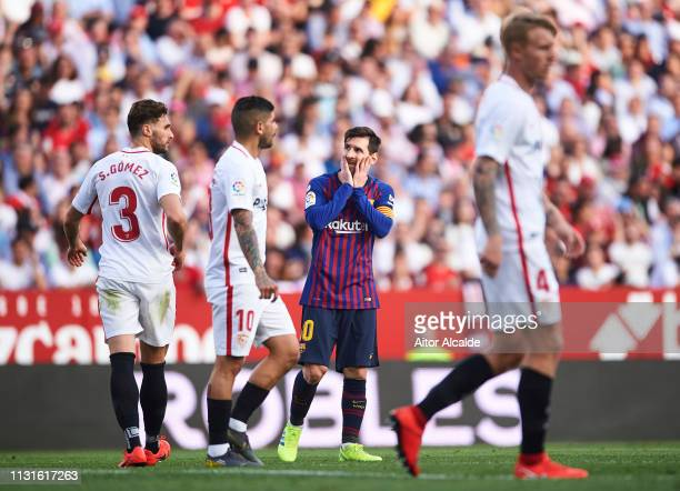 Lionel Messi of FC Barcelona reacts during the La Liga match between Sevilla FC and FC Barcelona at Estadio Ramon Sanchez Pizjuan on February 23 2019...