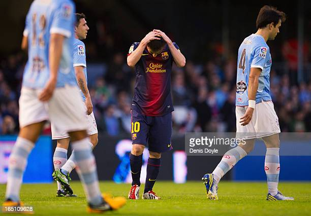Lionel Messi of FC Barcelona reacts during the La Liga match between RC Celta de Vigo and FC Barcelona at Estadio Balaidos on March 30 2013 in Vigo...