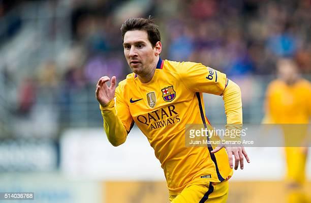 Lionel Messi of FC Barcelona reacts during the La Liga match between SD Eibar and FC Barcelona at Ipurua Municipal Stadium on March 6 2016 in Eibar...