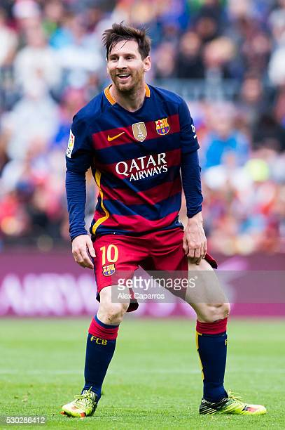 Lionel Messi of FC Barcelona reacts during the La Liga match between FC Barcelona and RCD Espanyol at Camp Nou on May 8 2016 in Barcelona Spain
