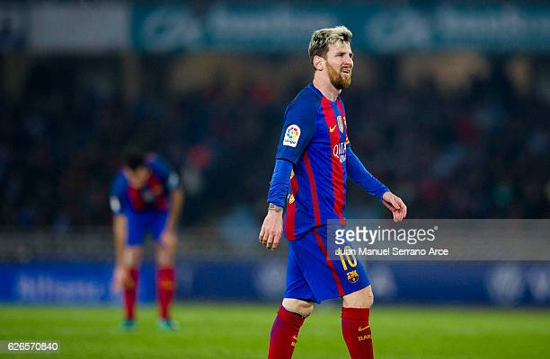 Lionel Messi of FC Barcelona reacts during the La Liga match between Real Sociedad de Futbol and FC Barcelona at Estadio Anoeta on November 27 2016...
