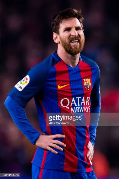 Lionel Messi of FC Barcelona reacts during the La Liga match between FC Barcelona and CD Leganes at Camp Nou stadium on February 19 2017 in Barcelona...