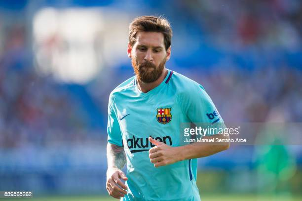 Lionel Messi of FC Barcelona reacts during the La Liga match between Deportivo Alaves and Barcelona at Estadio de Mendizorroza on August 26 2017 in...