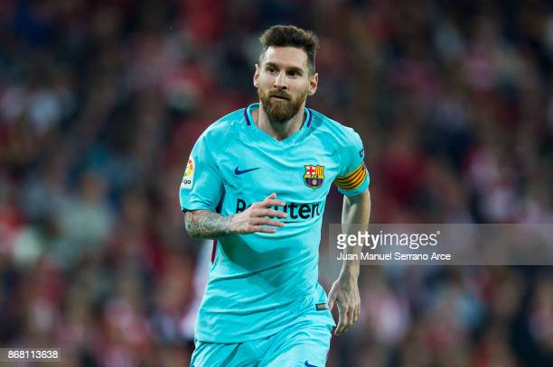 Lionel Messi of FC Barcelona reacts during the La Liga match between Athletic Club Bilbao and FC Barcelona at San Mames Stadium on October 28 2017 in...