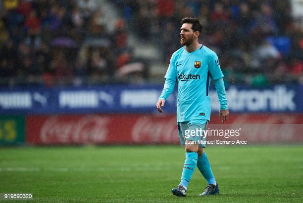 Lionel Messi of FC Barcelona reacts during the La Liga match between SD Eibar and FC Barcelona at Ipurua Municipal Stadium on February 17 2018 in...