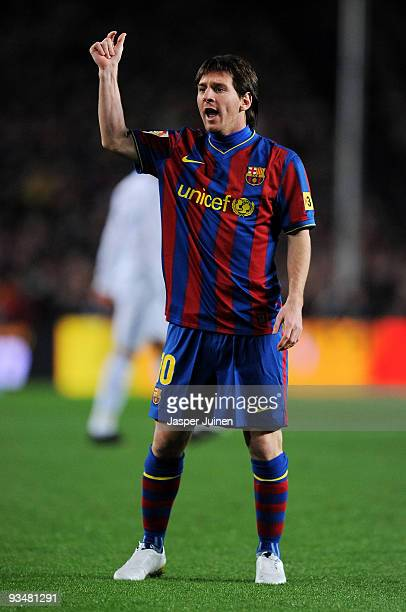 Lionel Messi of FC Barcelona reacts during the La Liga match between Barcelona and Real Madrid at the Camp Nou Stadium on November 29 2009 in...