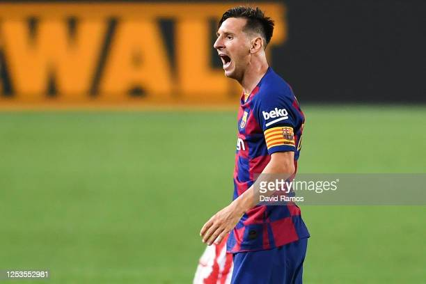 Lionel Messi of FC Barcelona reacts during the Liga match between FC Barcelona and Club Atletico de Madrid at Camp Nou on June 30 2020 in Barcelona...