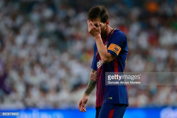 Lionel Messi of FC Barcelona reacts during the Supercopa de Espana Final 2nd Leg match between Real Madrid and FC Barcelona at Estadio Santiago...