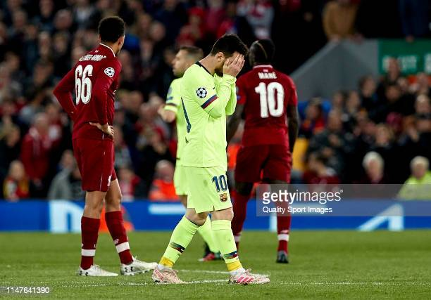Lionel Messi of FC Barcelona reacts during the UEFA Champions League Semi Final second leg match between Liverpool and Barcelona at Anfield on May 07...