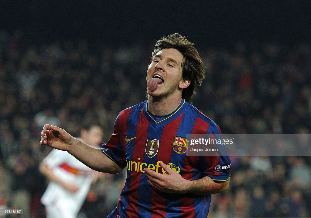 Lionel Messi of FC Barcelona reacts during the UEFA Champions League round of sixteen second leg match between FC Barcelona and VfB Stuttgart at the Camp Nou stadium on March 17, 2010 in Barcelona, Spain. Barcelona won the match 4-0 with two goals made by Messi.