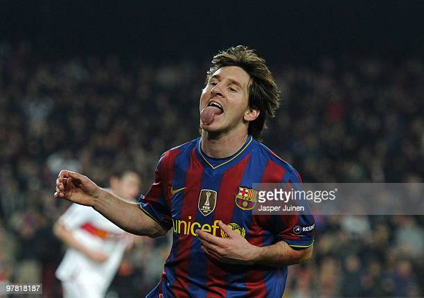 Lionel Messi of FC Barcelona reacts during the UEFA Champions League round of sixteen second leg match between FC Barcelona and VfB Stuttgart at the...