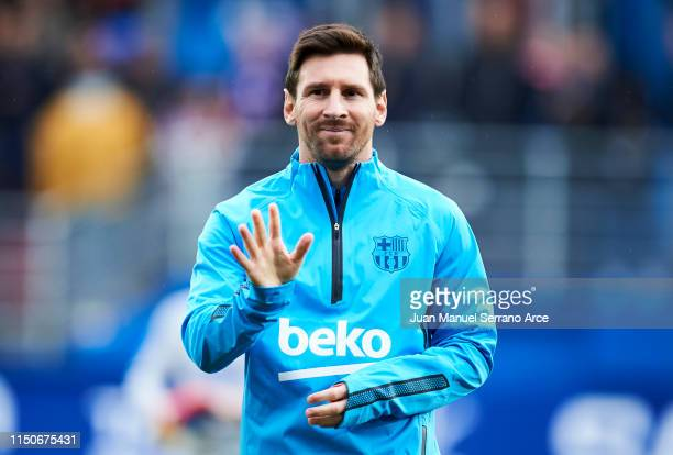 Lionel Messi of FC Barcelona reacts on prior to the start the La Liga match betweenduring the La Liga match between SD Eibar and FC Barcelona at...