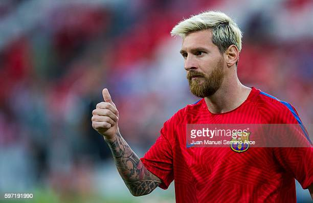 Lionel Messi of FC Barcelona reacts on prior to the start the La Liga match between Athletic Club Bilbao and FC Barcelona at San Mames Stadium on...