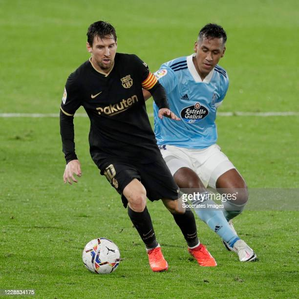 Lionel Messi of FC Barcelona Renato Tapia of Celta de Vigo during the La Liga Santander match between Celta de Vigo v FC Barcelona at the Estadio de...