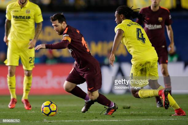 Lionel Messi of FC Barcelona Ruben Semedo of Villarreal during the Spanish Primera Division match between Villarreal v FC Barcelona at the Estadio de...