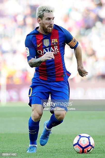 Lionel Messi of FC Barcelona running with the ball during the Spanish League match between FC Barcelona vs Real Betis Balompié at Nou Camp on August...