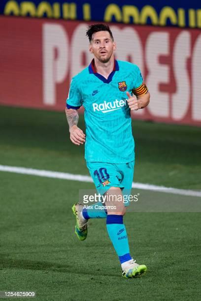 Lionel Messi of FC Barcelona runs during the Liga match between Villarreal CF and FC Barcelona at Estadio de la Ceramica on July 05 2020 in Villareal...