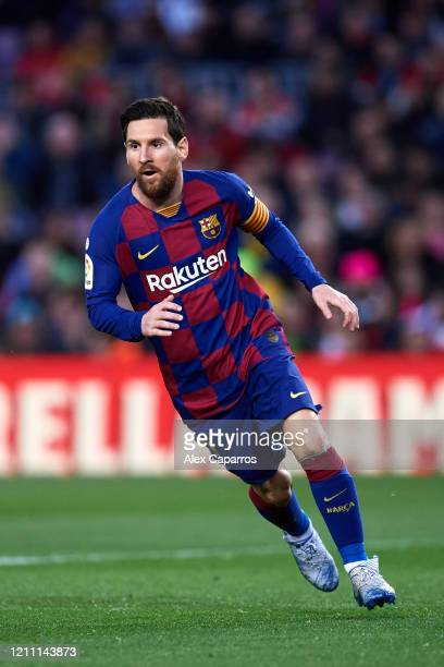 Lionel Messi of FC Barcelona runs during the Liga match between FC Barcelona and Real Sociedad at Camp Nou on March 07 2020 in Barcelona Spain