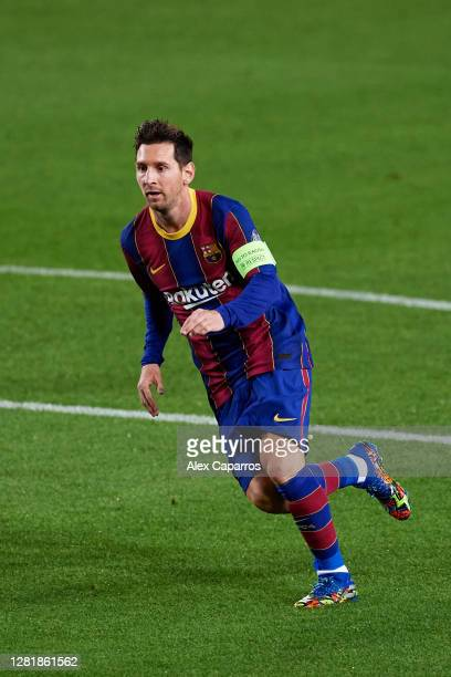 Lionel Messi of FC Barcelona runs during the UEFA Champions League Group G stage match between FC Barcelona and Ferencvaros Budapest at Camp Nou on...