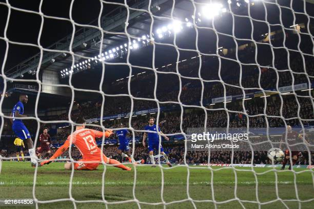 Lionel Messi of FC Barcelona scores a goal to make it 11 during the UEFA Champions League Round of 16 First Leg match between Chelsea FC and FC...