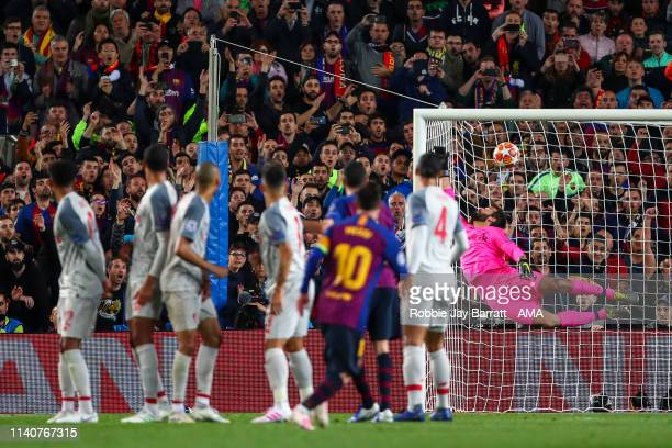 Lionel Messi of FC Barcelona scores a goal to make it 30 during the UEFA Champions League Semi Final first leg match between Barcelona and Liverpool...
