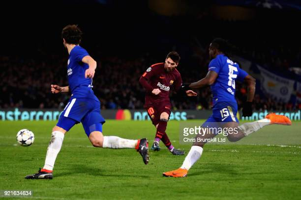 Lionel Messi of FC Barcelona scores his sides first goal during the UEFA Champions League Round of 16 First Leg match between Chelsea FC and FC...