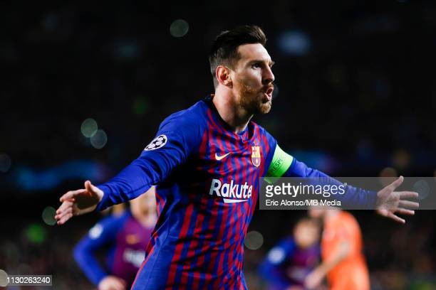 Lionel Messi of FC Barcelona scores his side's first goal for 10 during the UEFA Champions League Round of 16 Second Leg match between FC Barcelona...