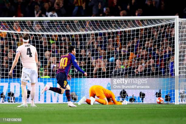Lionel Messi of FC Barcelona scores his sides second goal during the UEFA Champions League Quarter Final second leg match between FC Barcelona and...