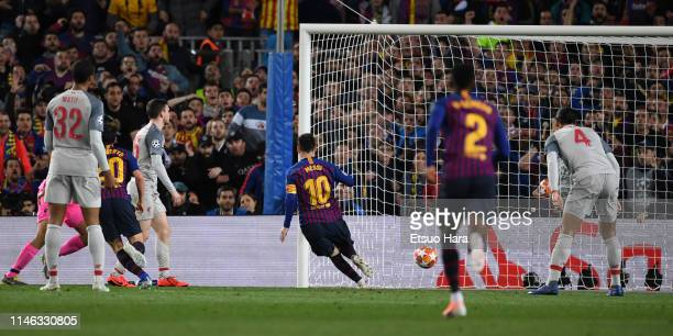 Lionel Messi of FC Barcelona scores his side's second goal during the UEFA Champions League Semi Final first leg match between Barcelona and...