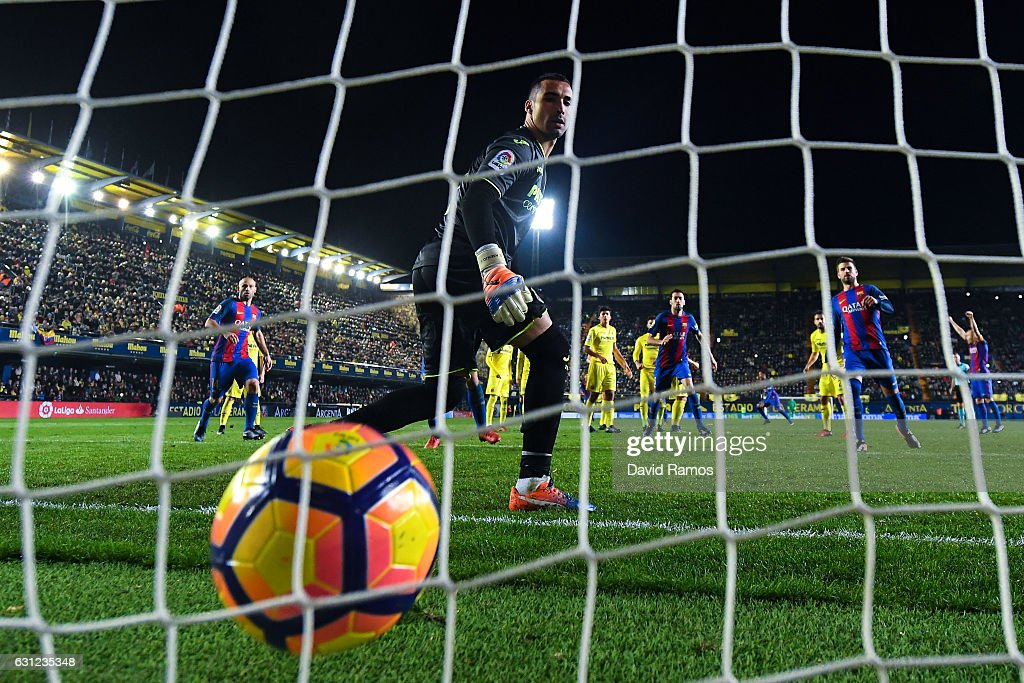 Lionel Messi of FC Barcelona (not in picture) scores his team's first goal during the La Liga match between Villarreal CF and FC Barcelona at Estadio de la Ceramica stadium on January 8, 2017 in Villarreal, Spain.
