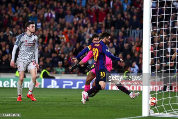 Lionel Messi of FC Barcelona scores his teams second goal during the UEFA Champions League Semi Final first leg match between FC Barcelona and...