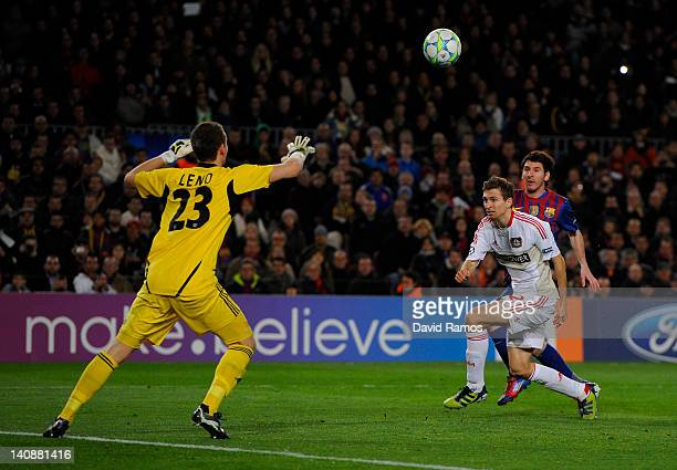 Lionel Messi of FC Barcelona scores his team's third goal during the UEFA Champions League round of 16 second leg match between FC Barcelona and...